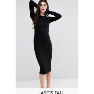 ASOS Tall Ribbed Long Sleeve Bodycon black dress